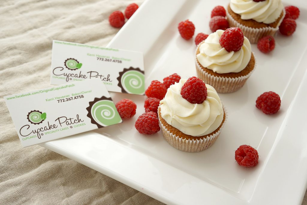 cupcake plate and business cards