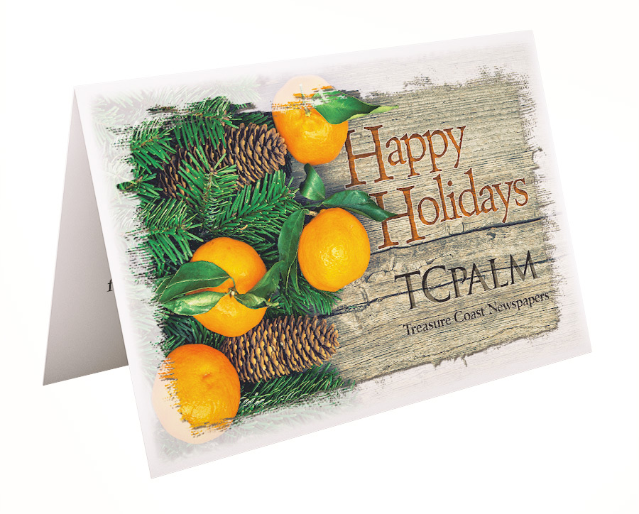 Holiday card for TCPalm with Florida Oranges
