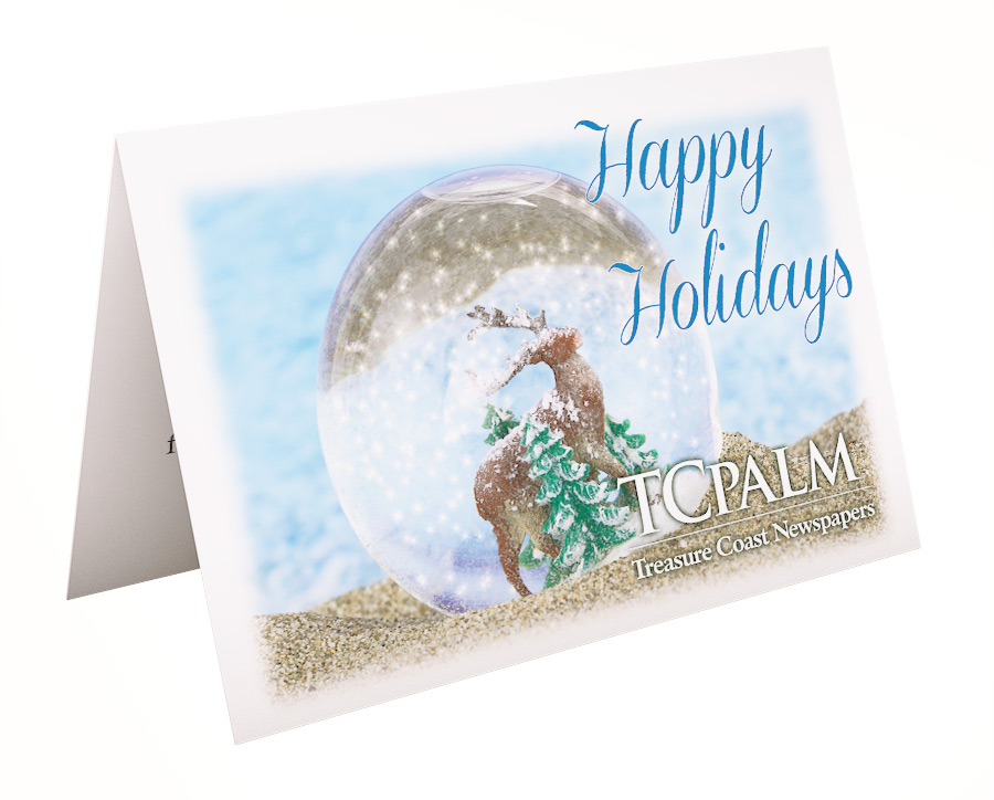 Holiday card for TCPalm with Reindeer snow globe