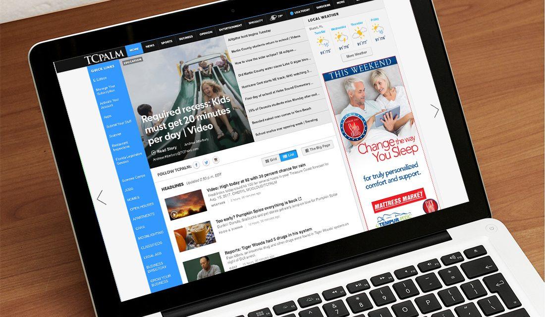 Mattress Market digital double big box ad on laptop