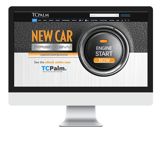 New Car Preview start your engine digital ad on monitor