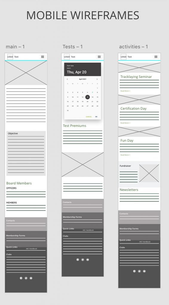 wireframes of tracking website on phone